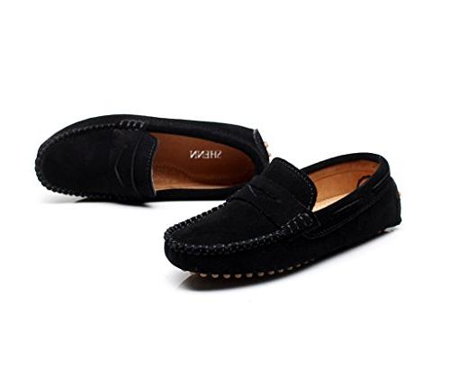 Shenn Boys' Black Suede Leather Shoes S8884 US1