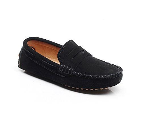 boys cute slip on black suede leather