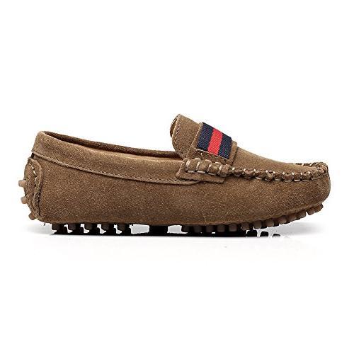 Shenn Boys Girls Fashion Strap Slip-On Suede Loafer Flats