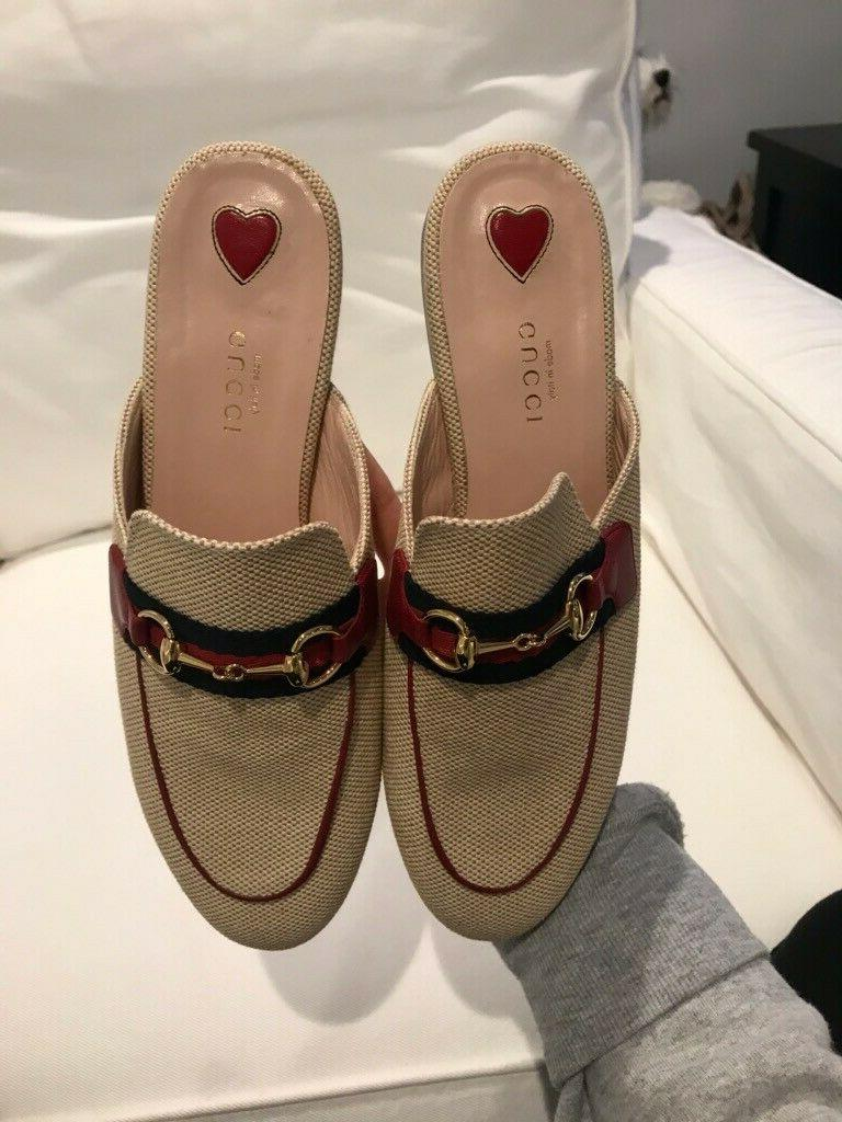 Brand New Princetown Natural Canvas Loafers, Size 37.5