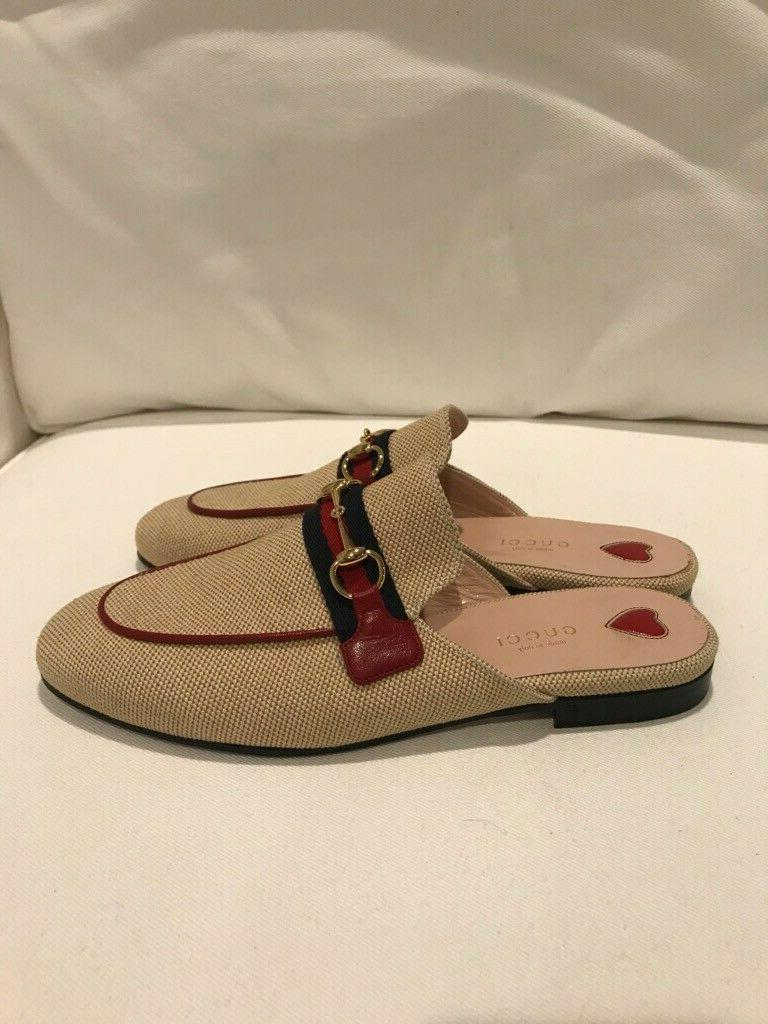 Brand New Gucci Women's Princetown Natural Canvas Backless Loafers, Size 37.5