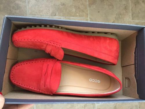 devine brown suede moc penny loafers coral