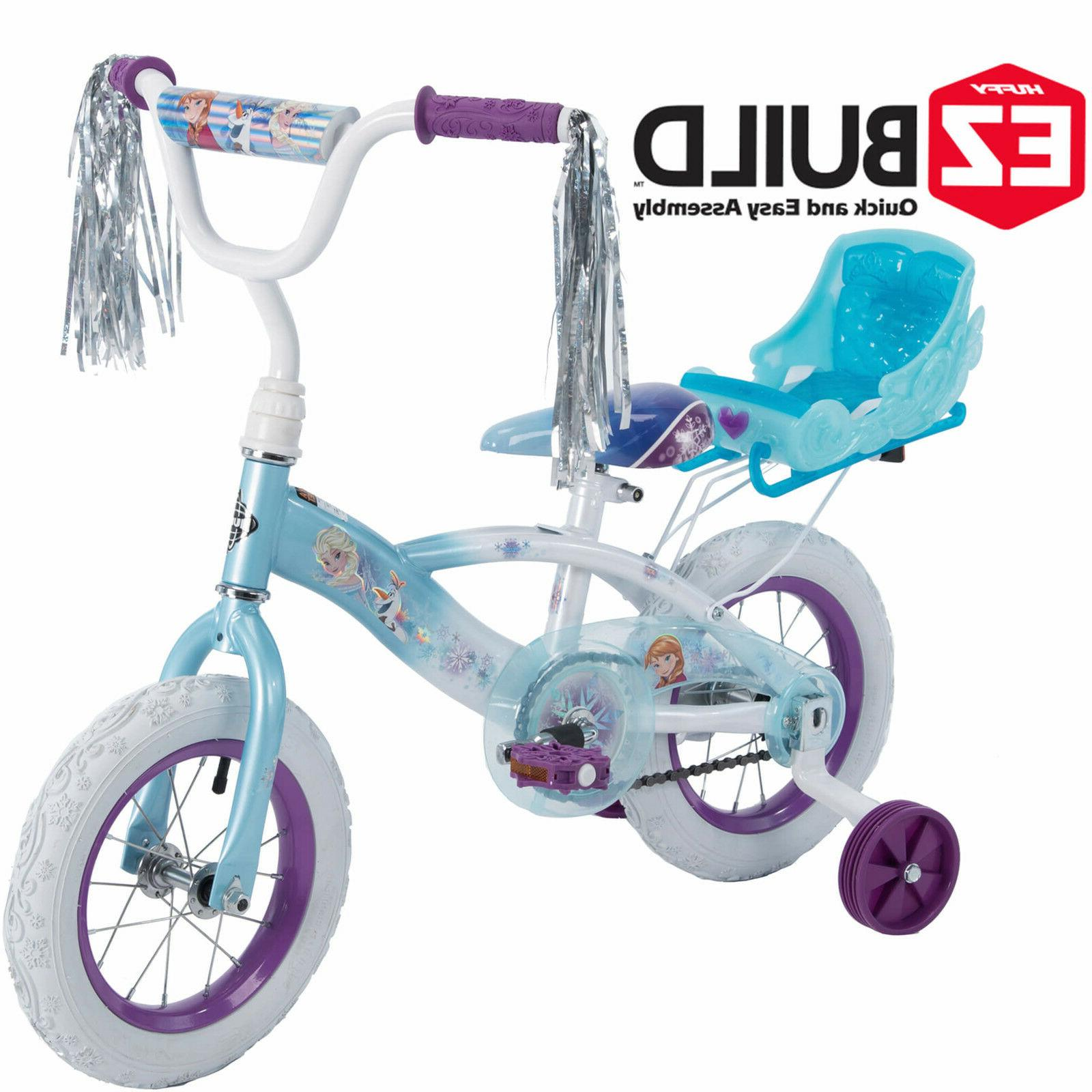 "Disney Frozen 12"" Girls Childrens Bike w/Sleigh Doll Carrier"