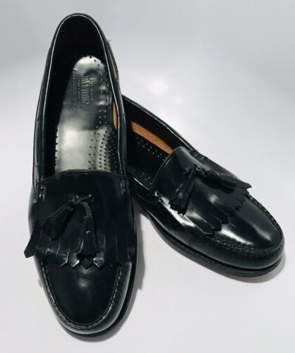 GH Bass Co Black Leather Tasseled Slip