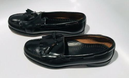 GH Black Kiltie Slip Loafers Shoes SZ