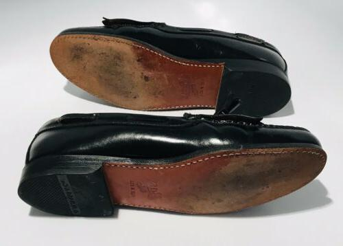 GH Weejuns Black Leather Kiltie Tasseled Slip On Loafers SZ 10.5