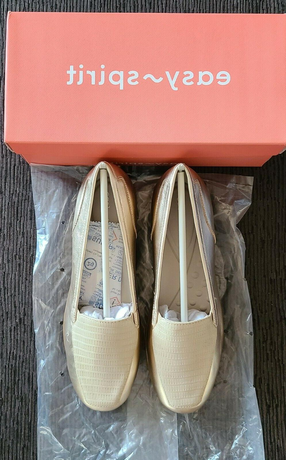 gold colored devitt loafer size 8