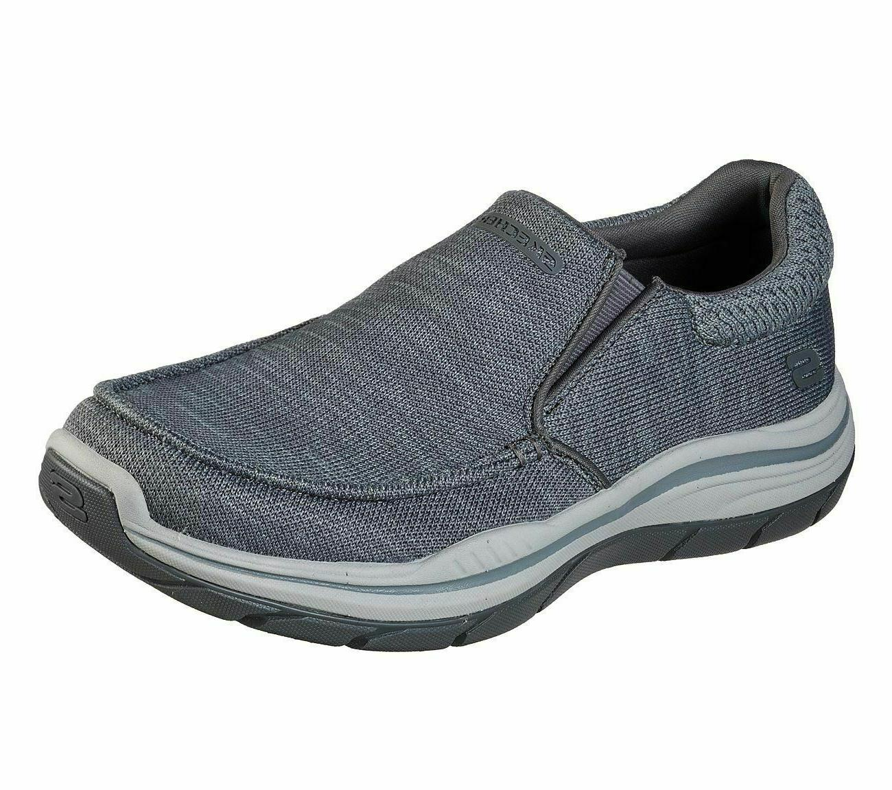 Gray Skechers Shoes Men's Extra Wide Fit Mesh Slip On Memory