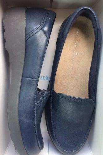 EASY SPIRIT 10 Karin LEATHER SLIP-ON LOAFER SHOES NAVY BLUE