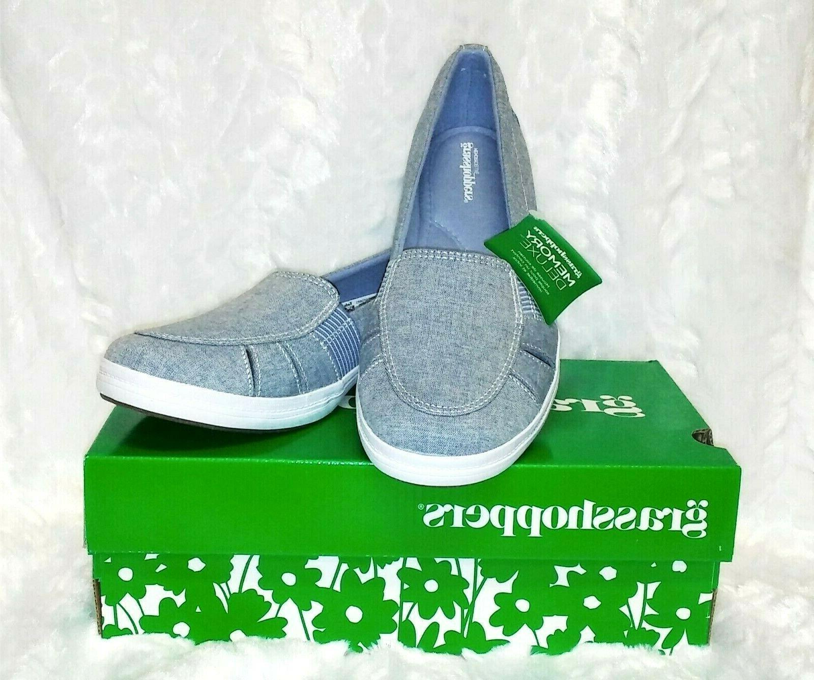 Grasshoppers Keds Chambray Blue Loafers Shoes 8W NIB