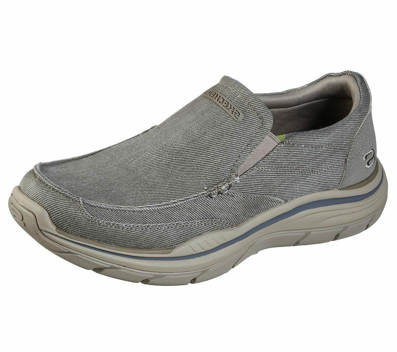Khaki Slip on Canvas Skechers Relaxed Fit Shoes Men's Memory
