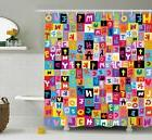 Kids Shower Curtain Colored Alphabet Puzzle Print for Bathro