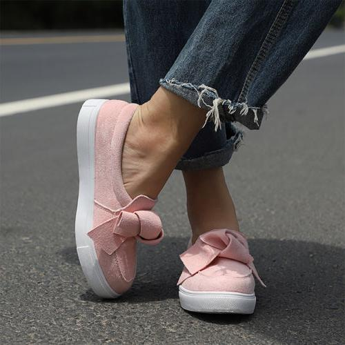 Women's School Dolly Loafers Bow Creeper Shoes