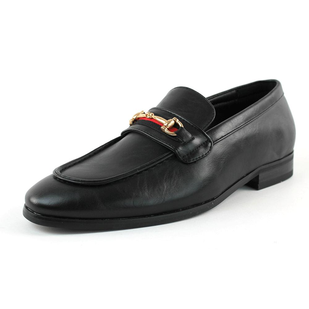 Men's Black Shoes Slip Loafers With Gold Buckle AZAR MAN