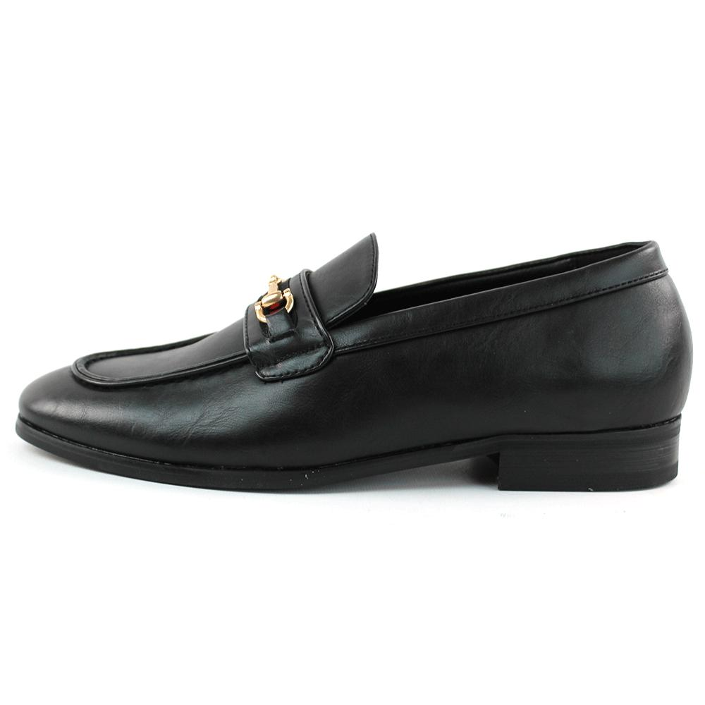 Men's Leather Shoes Slip Loafers With Buckle Formal AZAR MAN