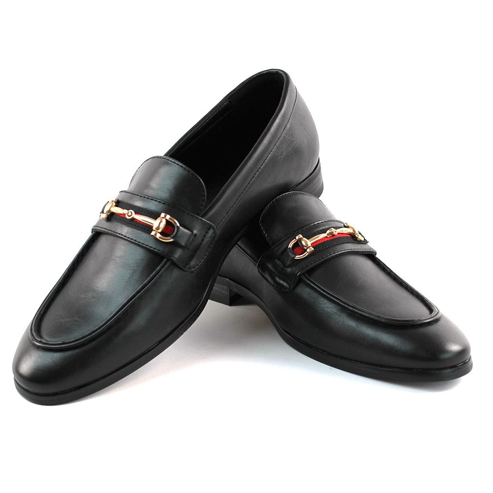 men s black leather dress shoes slip