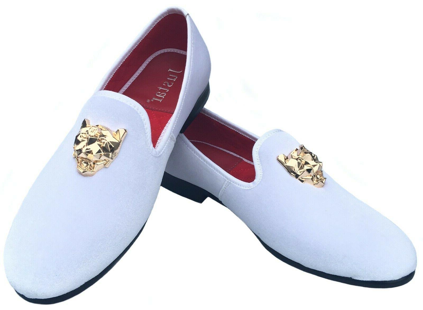 Men's Black Slip-on Dress Shoes Gold Buckle