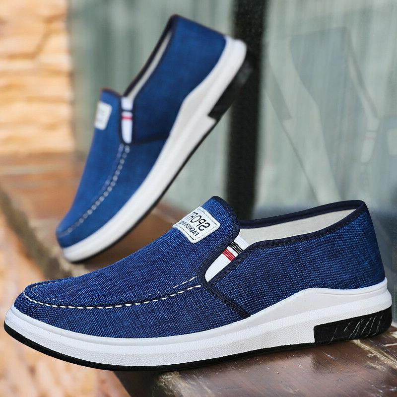 Men's Casual Canvas Breathable Shgoes Sneakers Loafers Slip on Shoes