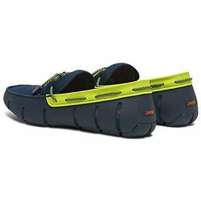 Swims Driving Moccasin Loafer Navy/Green Sparkle