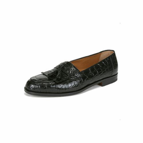 men s rodeo crocodile tassel loafers black