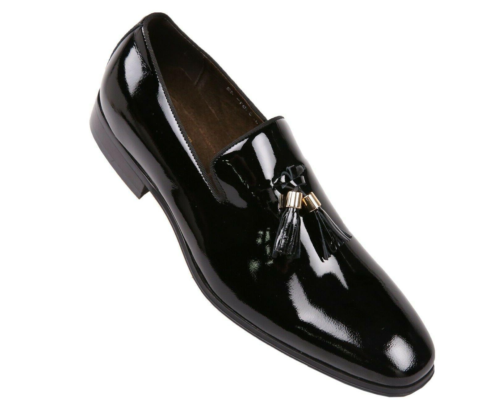 mens black patent leather gold tip tassel
