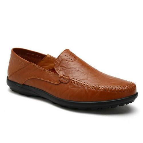 Mens Leather On Flat Antiskid Loafers Moccasins