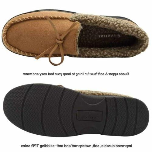 Men's Slippers Warm Thicken Driving Fur Lined Penny Shoes