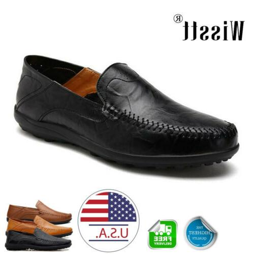 mens leather casual slip on shoes flat