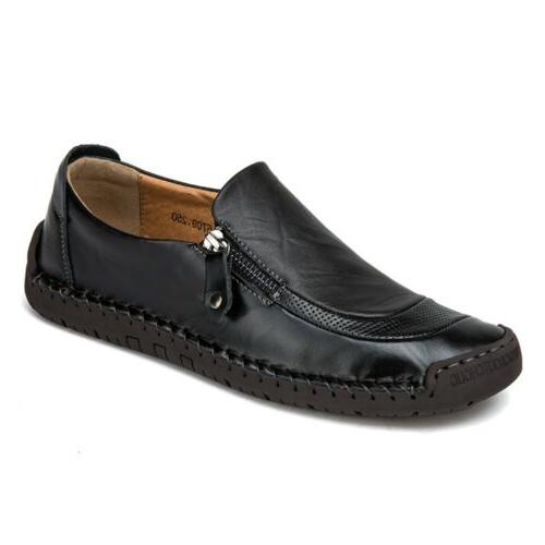 Mens Leather Zipper Shoes Breathable Moccasins Casual