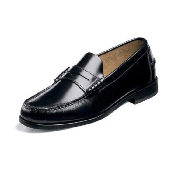 mens shoes berkley black leather penny loafer