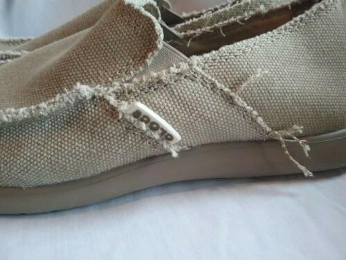 Crocs 'Santa Cruz' Beige Slip-On Casual Fashion Canvas New