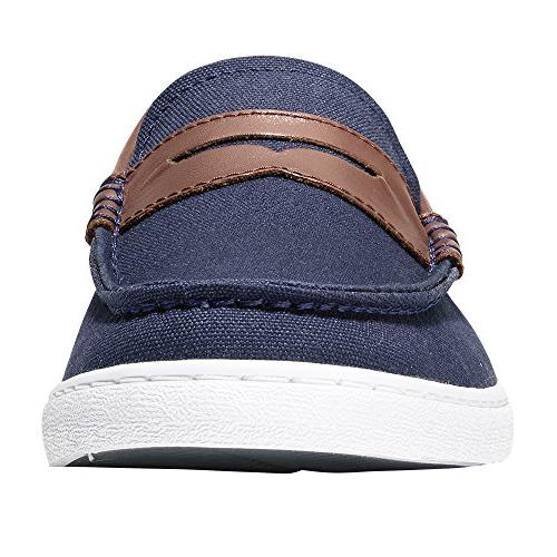 Cole Haan Nantucket Loafer Blue Textile/Chestnut 12 US