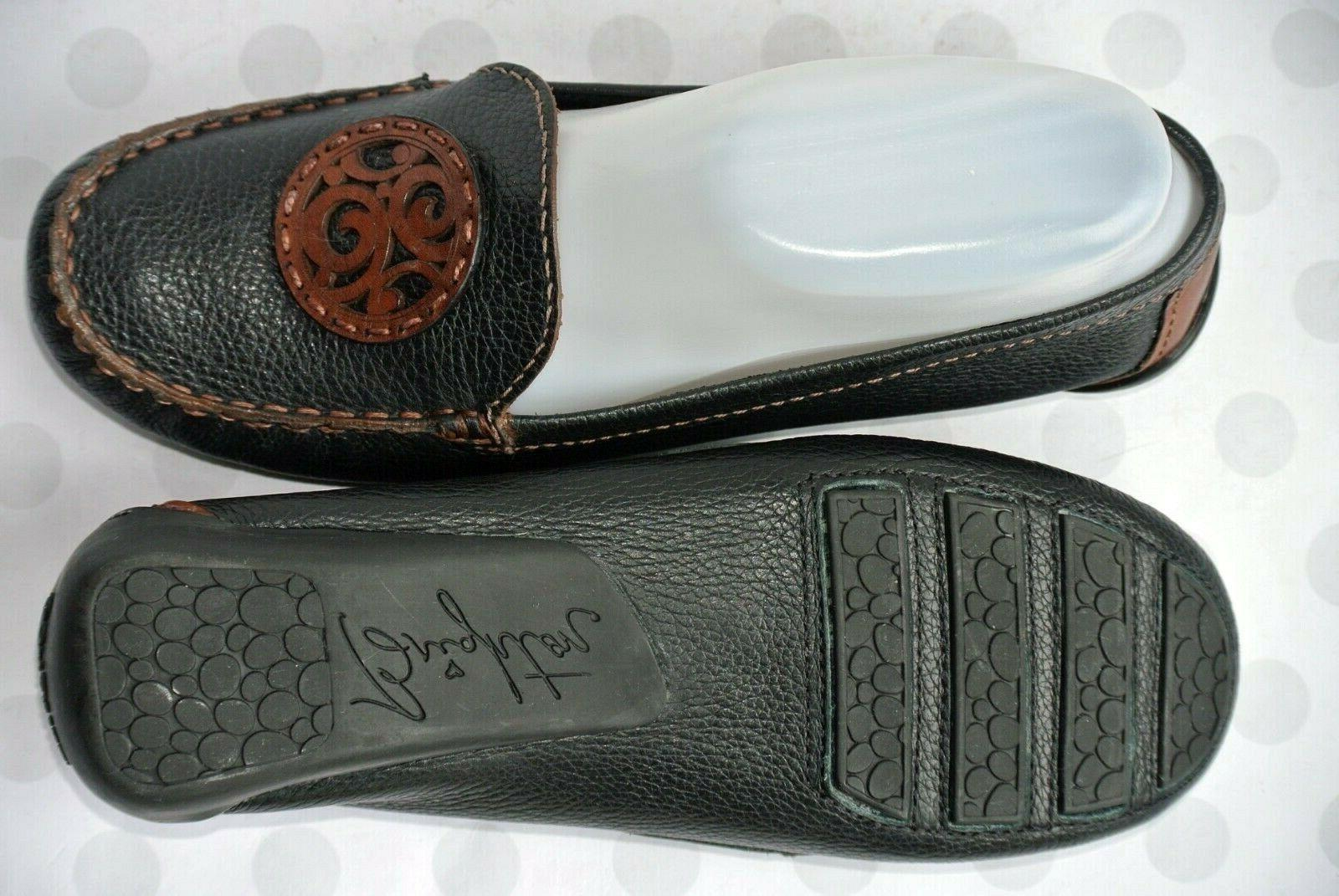 Brighton Womens 8.5M Black Brown Leather Loafers