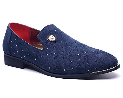 navy casual suede slip loafers