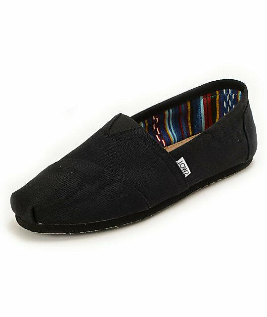 New Black on Black Men's Toms Classic Canvas Slip On Shoes