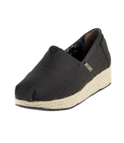 NEW - Bobs By Skechers Women's Wedge Shoes Black Memory Foam