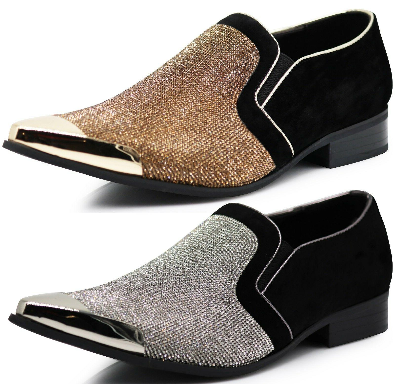 New Men Metal Toe Dress Shoes Rhinestone Diamond Loafers Sli