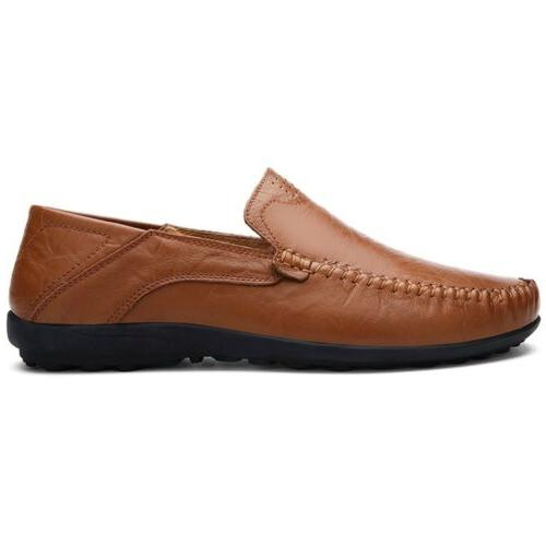 Mens Leather Casual On Flat Breathable Antiskid