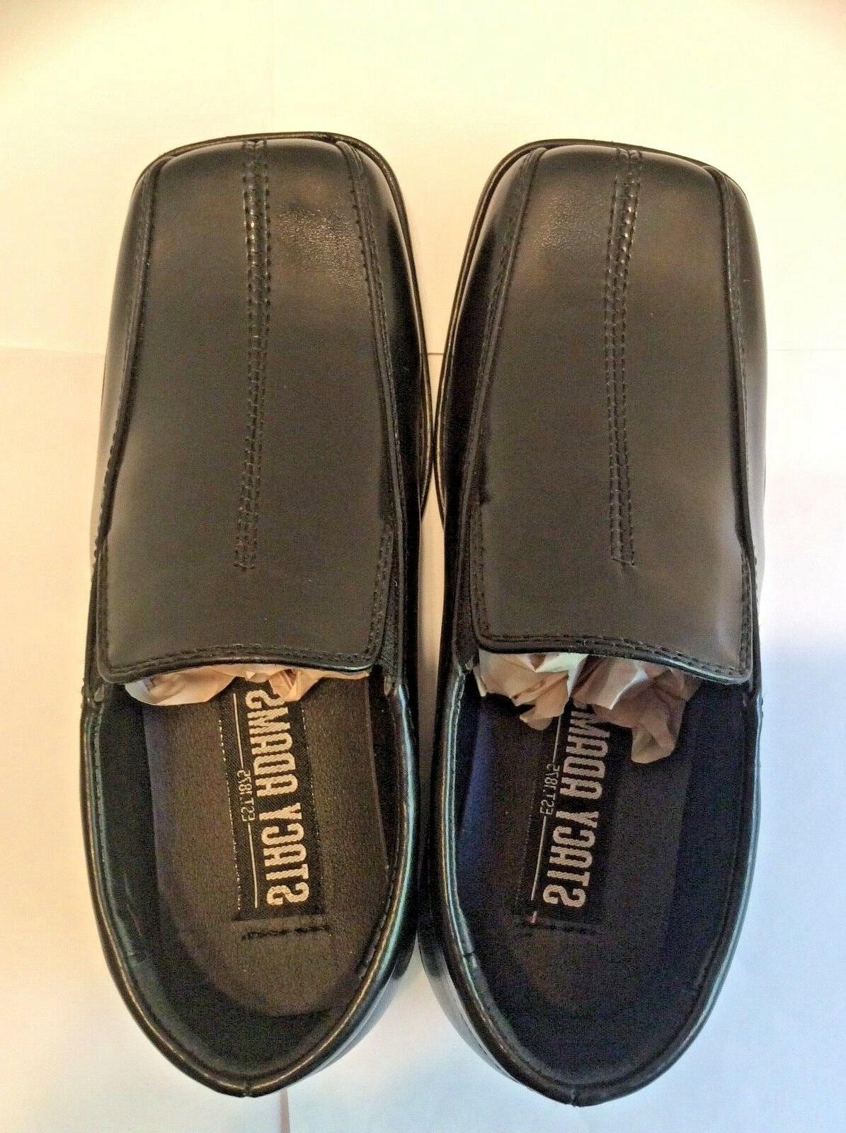 New Stacy Boys Black Square Toe Loafers Sz 12M
