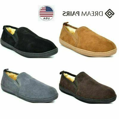 DREAM PAIRS New Warm Men's Fur-Loafer-02 Suede Soft Slippers