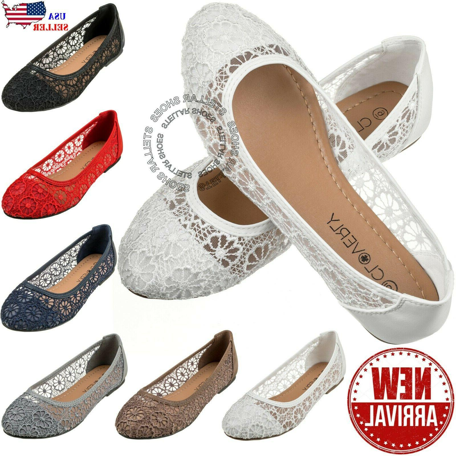 new womens cute lace crochet ballet flat