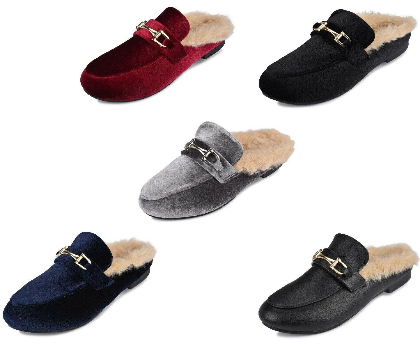 new womens ladies mule loafers open back