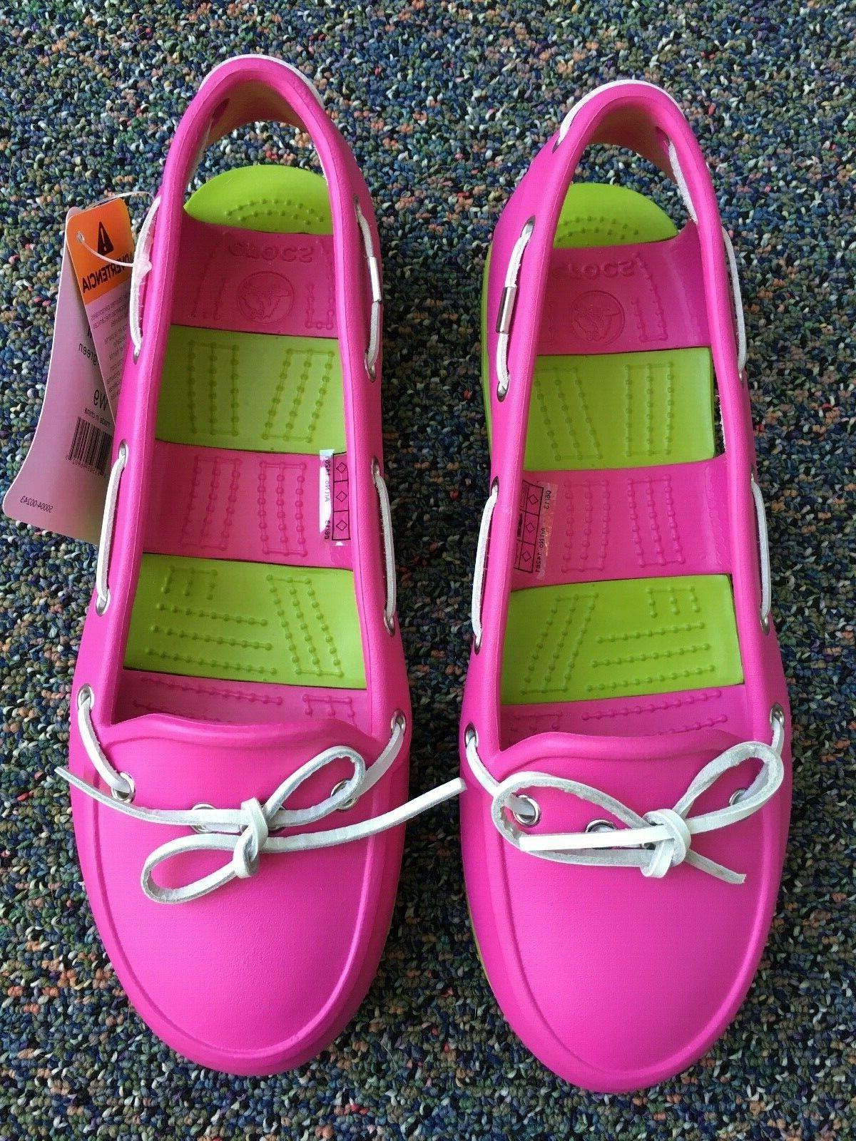 NWT Crocs Beach Line Cut Out Nautical Loafers & Green