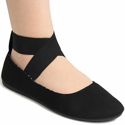 peony womens ballet flats elastic ankle strap