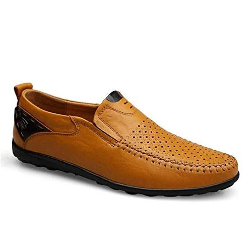 High end Plus 38-46 Men Leather Breathable Shoes,7MUS,YellowBrown