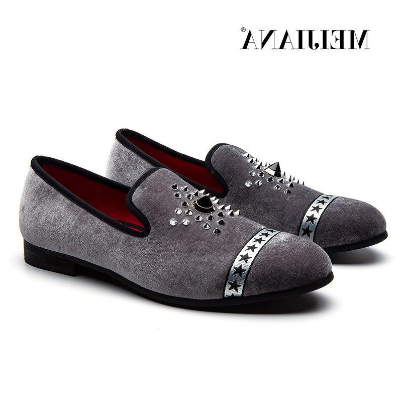 MEIJIANA <font><b>Men</b></font>'s fashion Velvet <font><b>Loafers</b></font> Pointed Slip on Shoes Driving Bottom