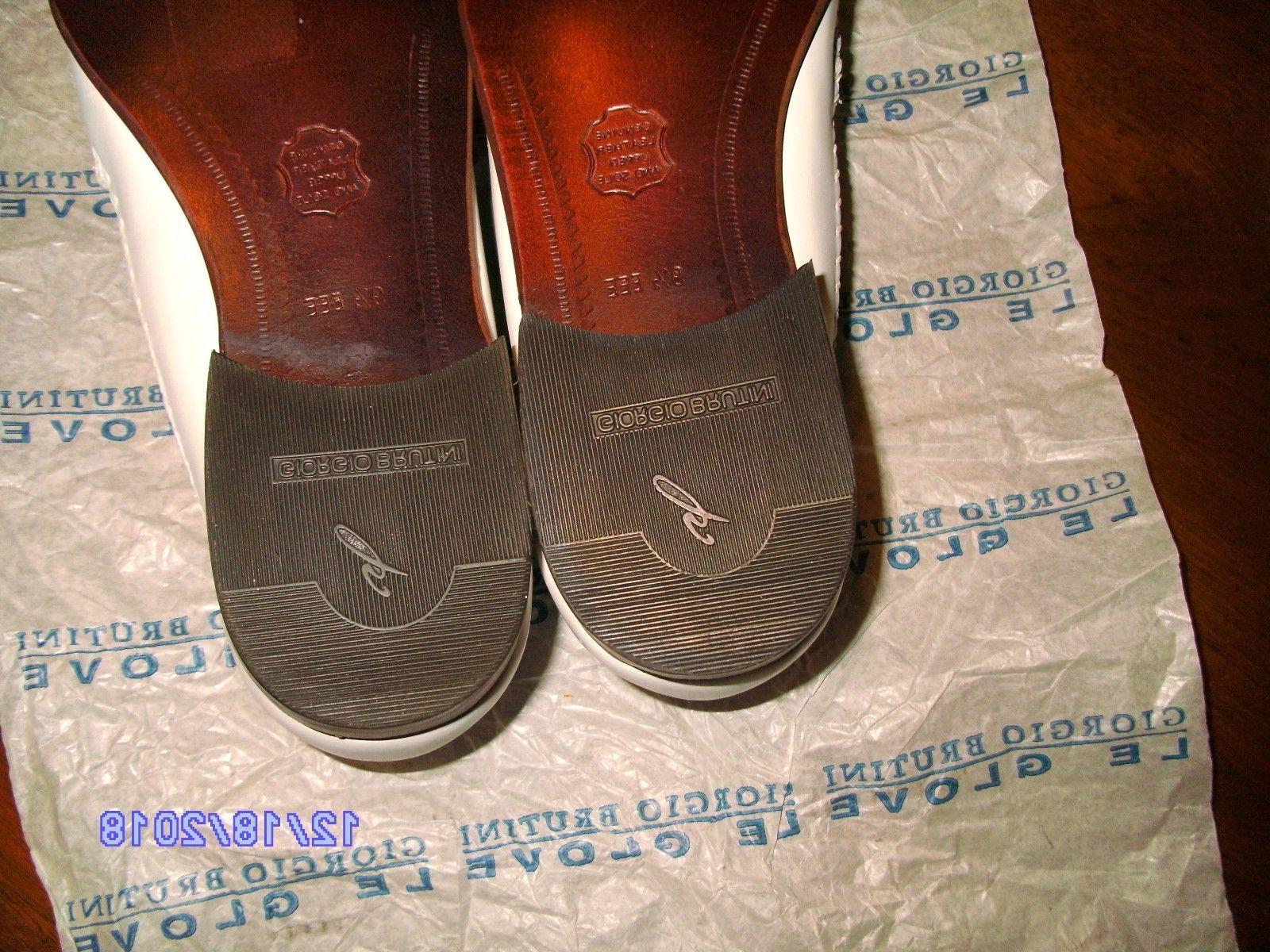 Giorgio Mens Shoes 9.5 White Loafer Slip Extra Wide