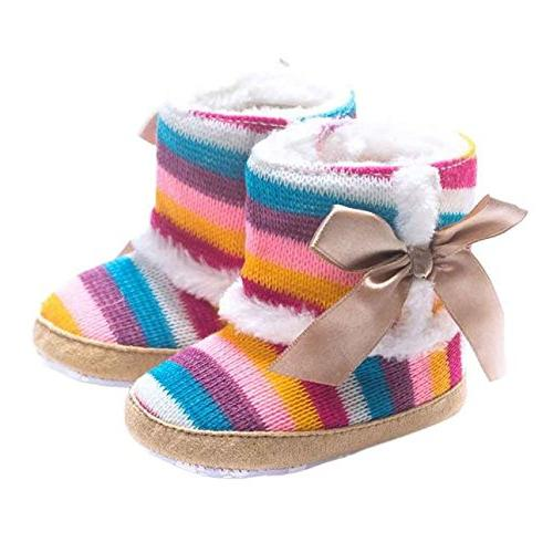 Round Toe Girl Rainbow Snow Shoes Toddler Boots,Boys' Loafers,Multicolor,12-18M