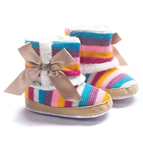 Round Toe Flats Shoes,Baby Girl Rainbow Soft Snow Soft Shoes Boots,Boys'