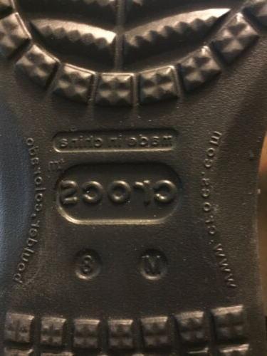 CROCS Santa Cruz Luxe Leather Black Sz 9 M Men Loafers-NEW